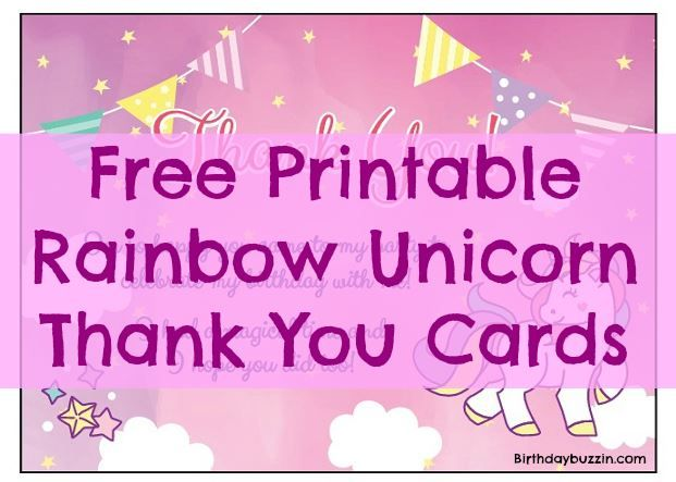 Free Printable Rainbow Unicorn Thank You Cards Unicorn Birthday