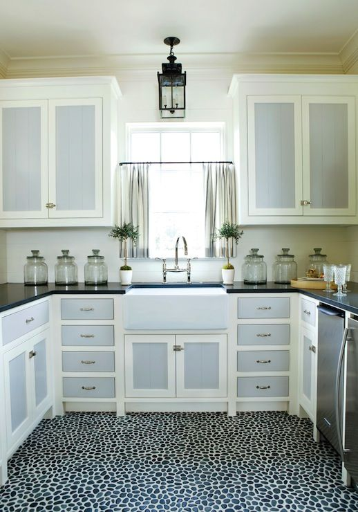 Pebble Floor Stone Mosaic White Cabinets Two Tone Kitchen