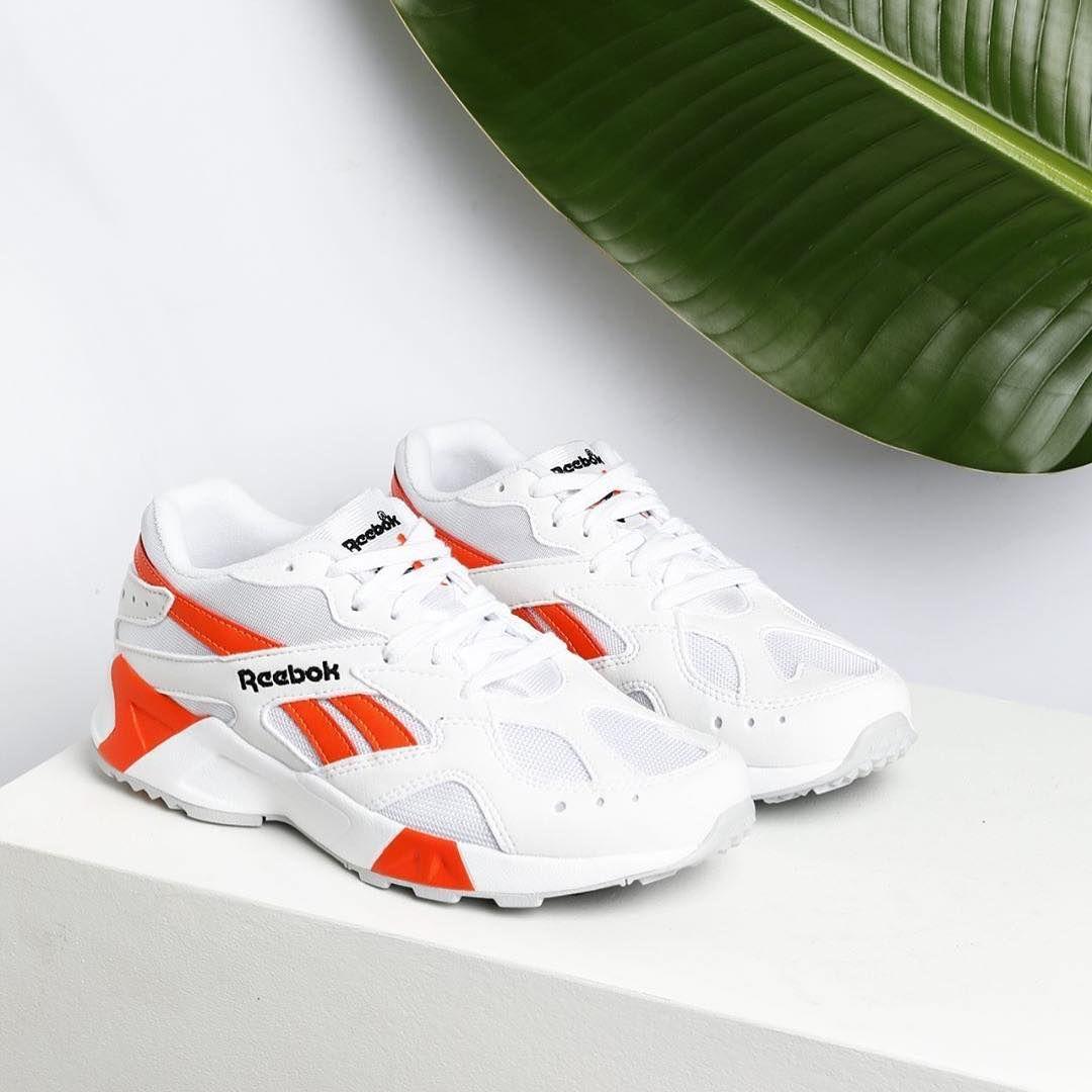 "e1ea03f021a01 "" hypebaekicks   reebok s new Aztrek is laced with white and bright orange  detailing"
