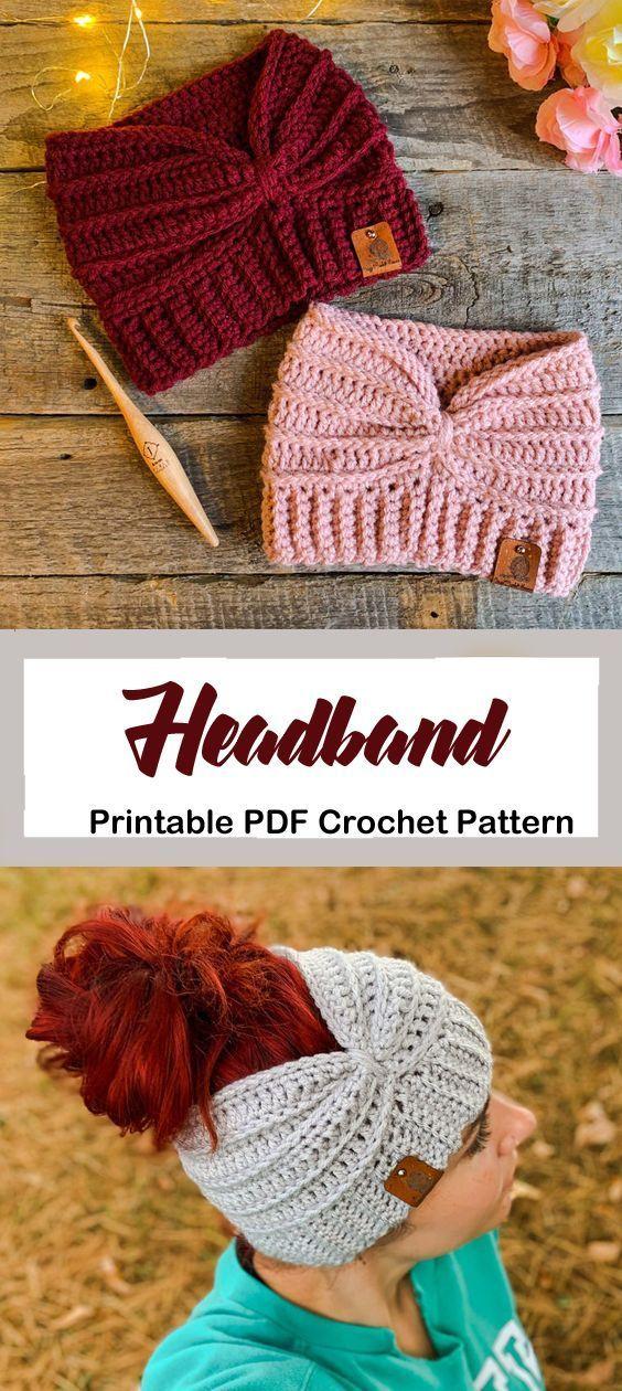 Make a cozy ear warmer. headband crochet pattern- ear warmer crochet pattern pdf - amorecraftylife.com #crochet #crochetpattern #bonnets