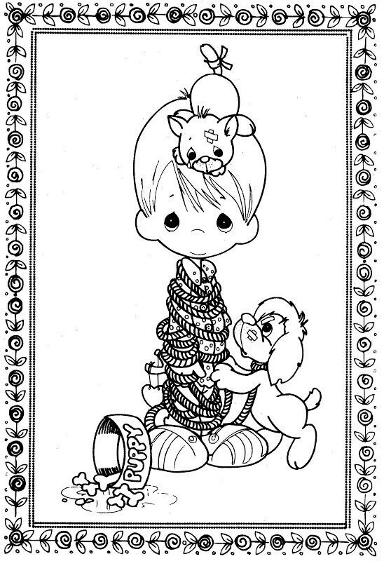 angel kitten coloring pages | Boy, puppy and kitten | Digital - Precious Moments ...