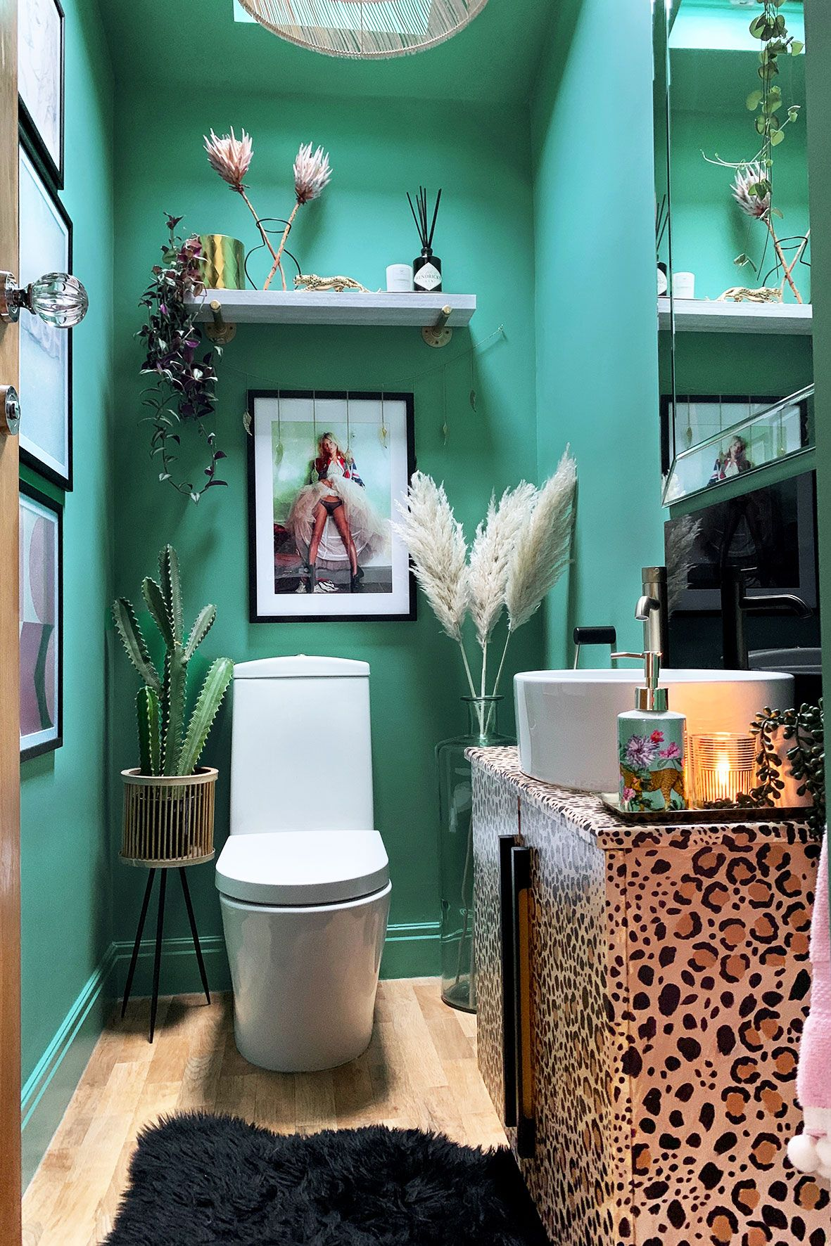 Quirky Downstairs Toilet Makeover - Teal & Leopard Decor