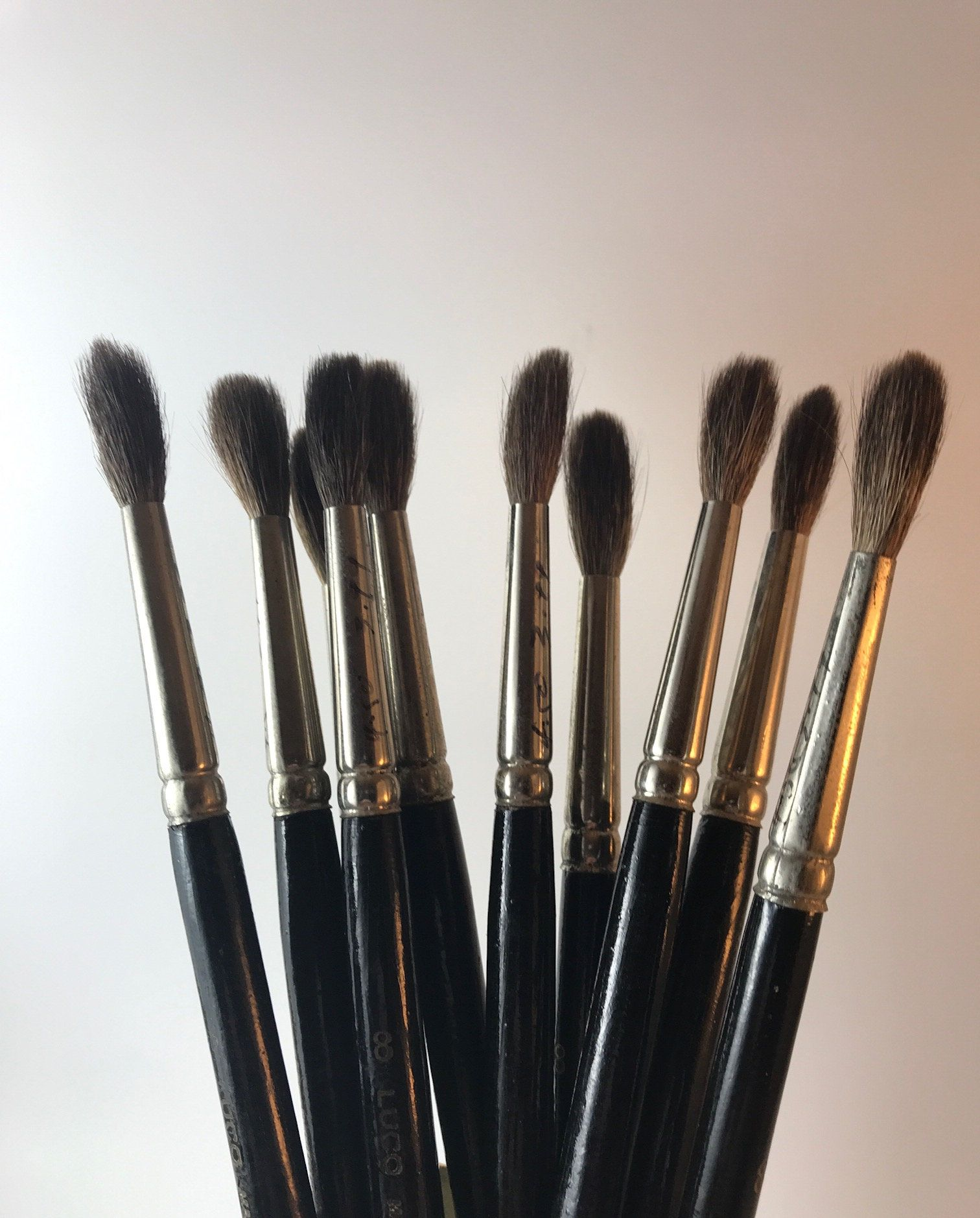 Luco Natural Hair Artist Paint Brushes Vintage Round Artist Paint Brushes Natural Hair Brushes Face Painting Natural Hair Brush Artistic Hair Face Painting