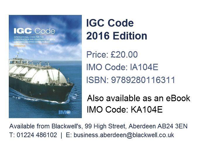 IGC Code 2016  IA104E  ISBN 9789280116311 | IMO Publications