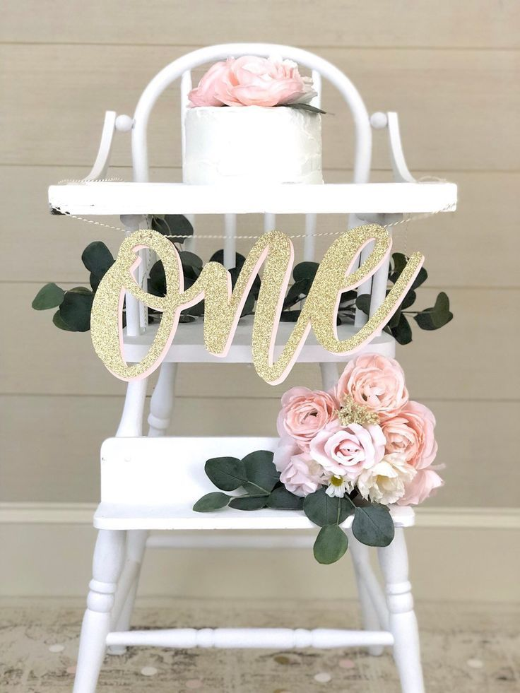 WILD ONE High Chair Banner| Girl 1st Birthday Party| Pink and Gold Color Theme| ONE Cake Topper and