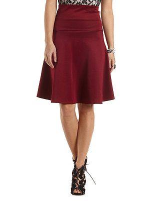 18f494f48c1 Dropped Waist Scuba Knit Skirt  Charlotte Russe
