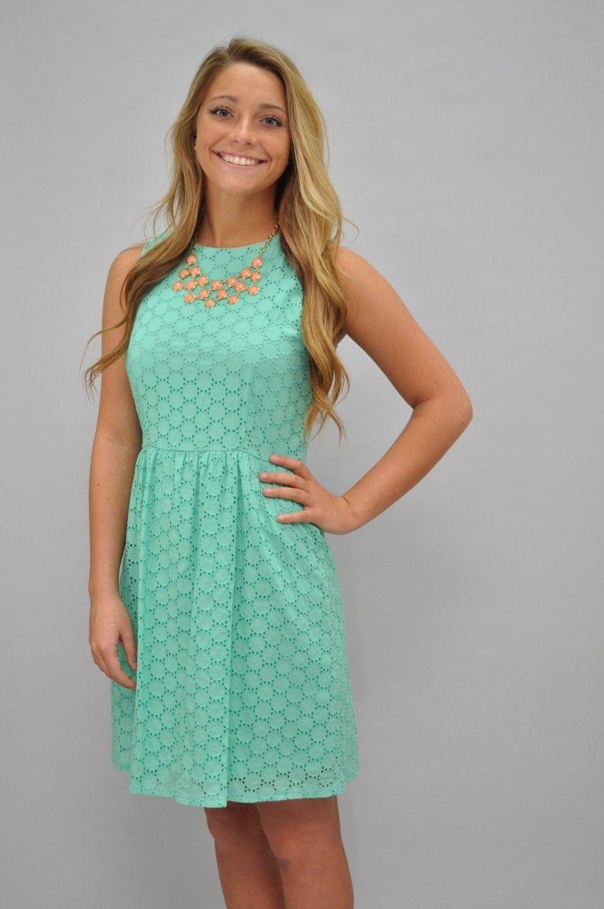 7fb4666f0ba Mint Eyelet Dress - Southern Flair Boutique.  48