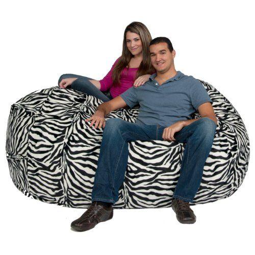 Astonishing Cozy Sack 6 Feet Bean Bag Chair Large Zebra Print Cozy Pdpeps Interior Chair Design Pdpepsorg