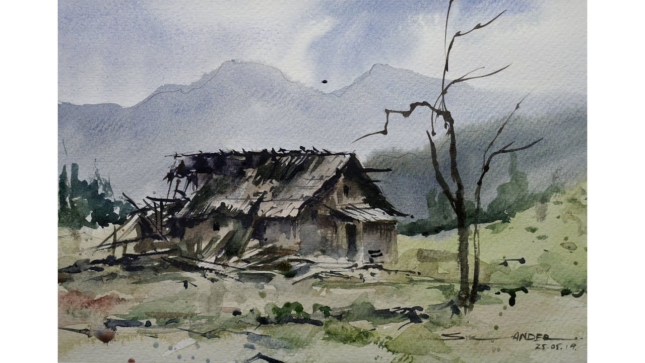 Easy Watercolor Landscape Painting By Sikander Singh Chandigarh