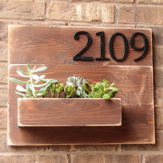 Hausnummer DIY Holz Blumentopf