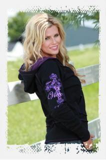 Black/purple long sleeve slub jersey reversible zip hood. Purple art on black side. Black art on purple side.