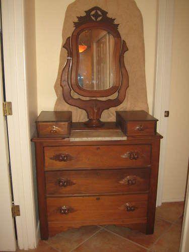 Details About Antique American Eastlake Walnut Dresser