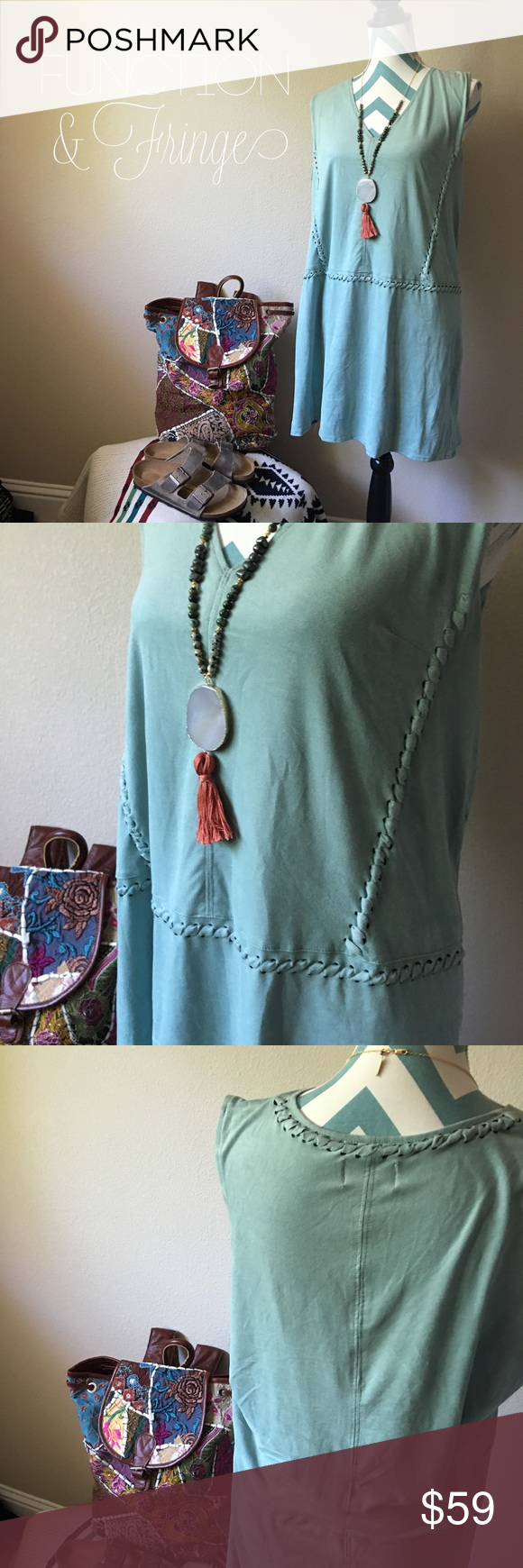 Soft suede like shift dress The tunic is super soft and feels like a faux suede. Fun stitch detailing throughout. Can be worn as a dress or tunic. 110140  All Function & Fringe clothing is carefully curated & all Function & Fringe jewelry is designed and made with ❤️ in California!   ❤I have over 300 new with tag Free People & Function& Fringe items for sale! I love to offer bundle discounts!  ❤No trades. love the item but not the price? Submit an offer! Function & Fringe Dresses Mini