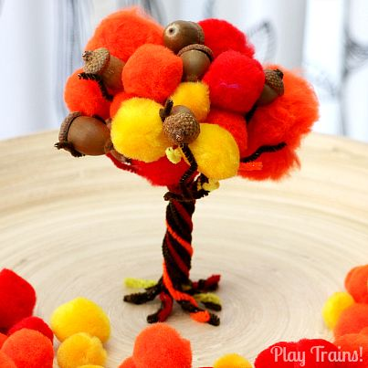 Fall Pom Pom Tree -- Fine Motor Activity - Play Trains!