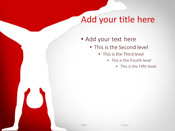 Gymnastics Powerpoint Template Red  Sport Powerpoint Templates