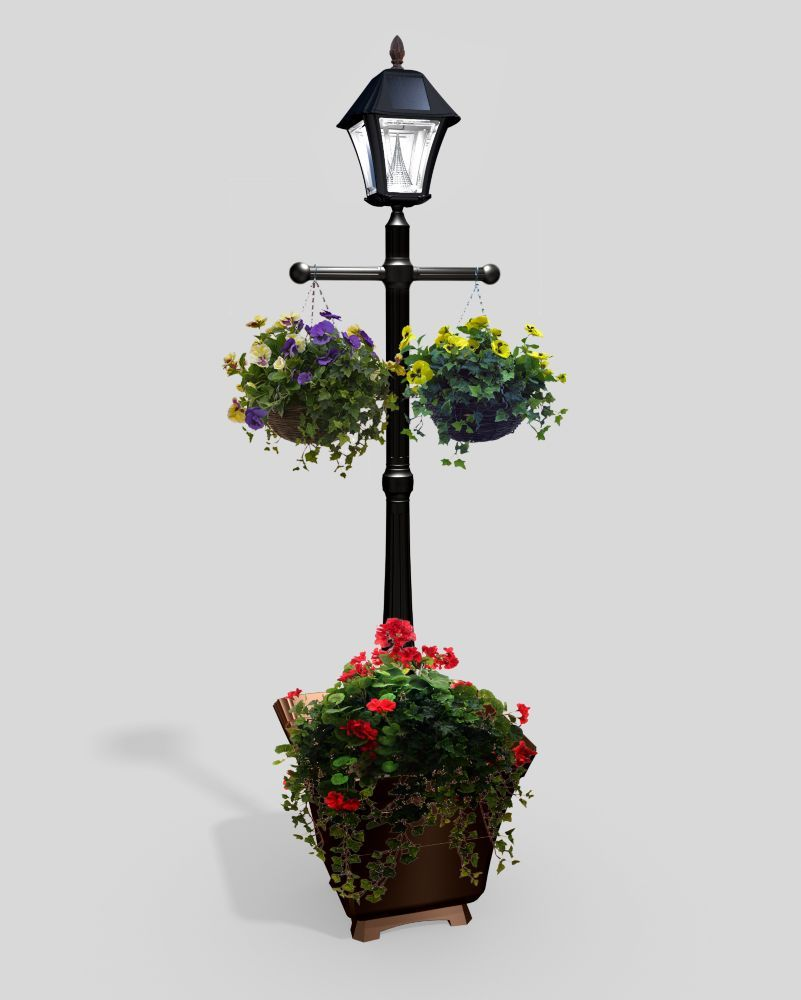 Gama Sonic Baytown Black Solar Lamp Post With Planter Base The Home Depot Canada Solar Lamp Post Outdoor Lamp Posts Solar Lamp