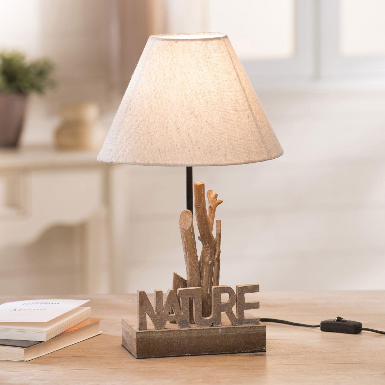 Poser Cm Abat Jour Hauteur Lampe Naturel Tissu Bois Conique Avec fYgv6y7b