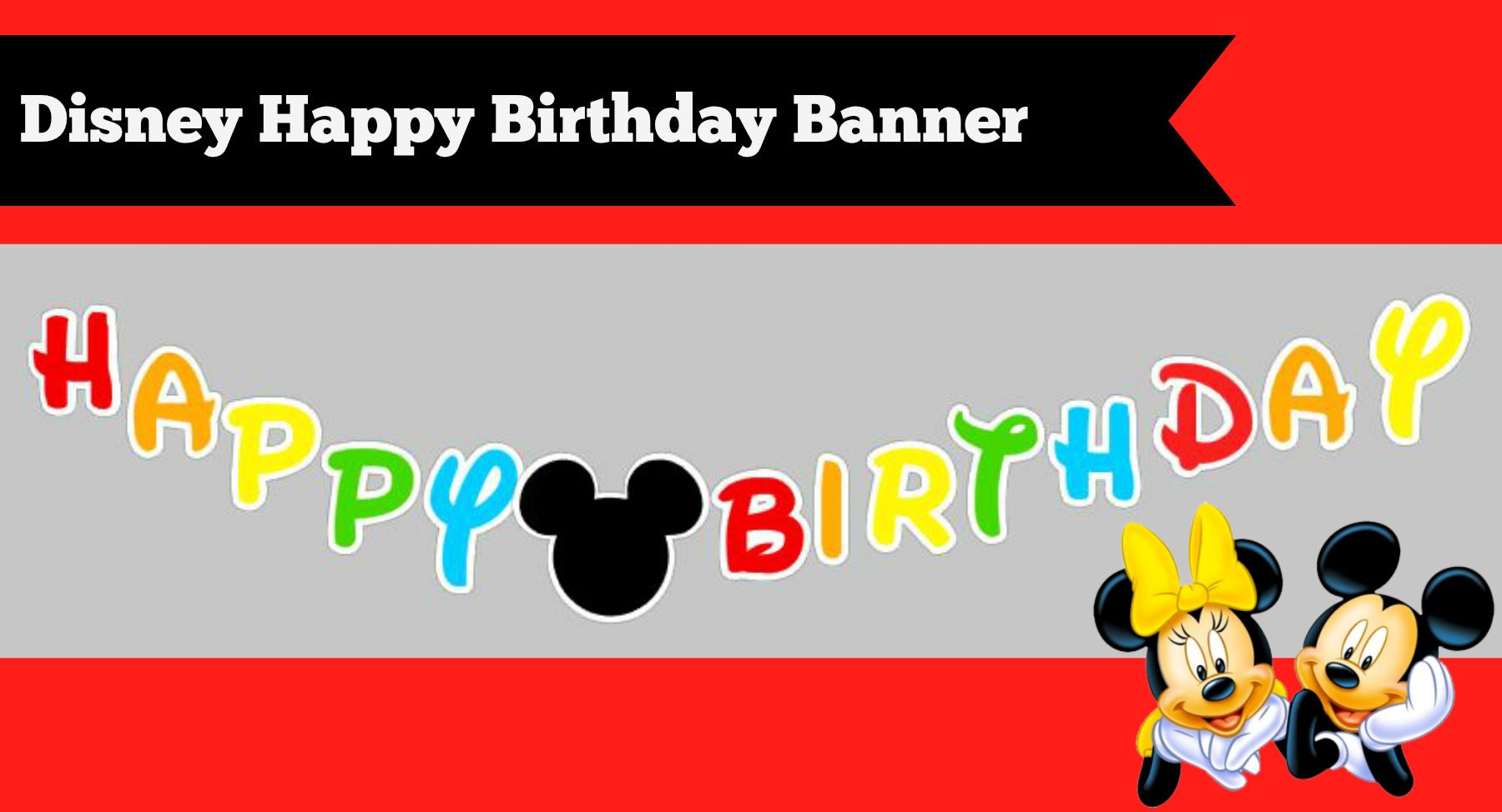 Free Mickey Mouse Happy Birthday Banner