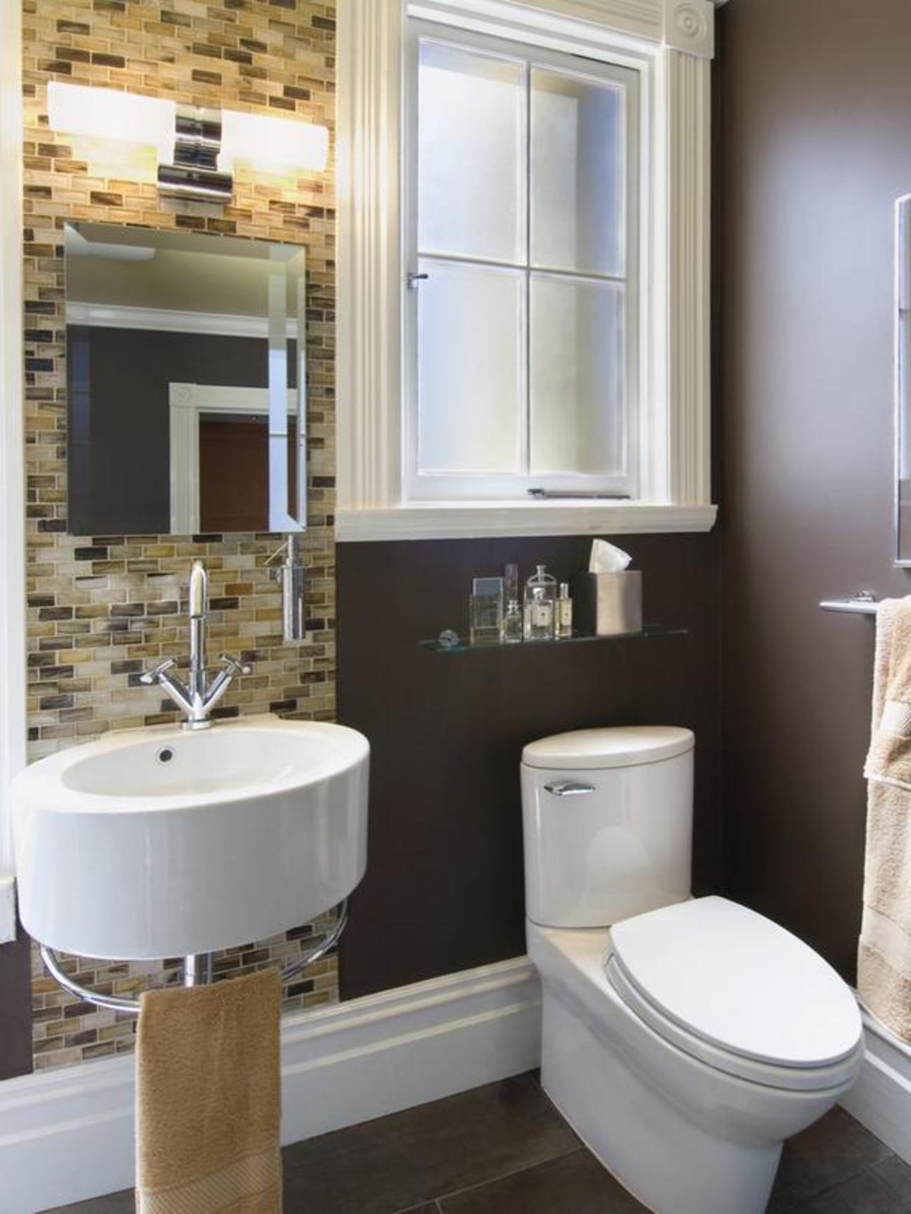 Bathroom , Good Small Bathroom Design Ideas : Small Bathroom Design Ideas With Traditional Toilet And Wall Mounted Sink With Towel Bar