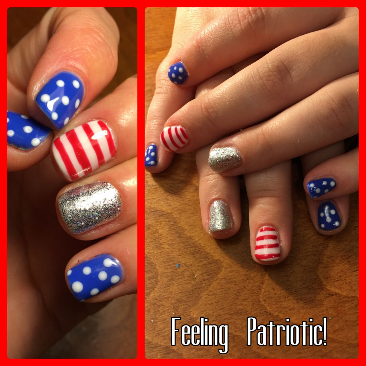 Feeling patriotic! Red white and blue with a sparkle of silver loose ...