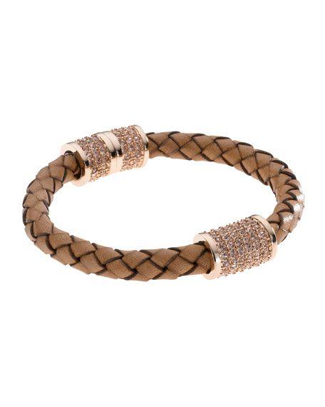 Michael Kors Braided Leather Crystallized Bracelet Rose Golden