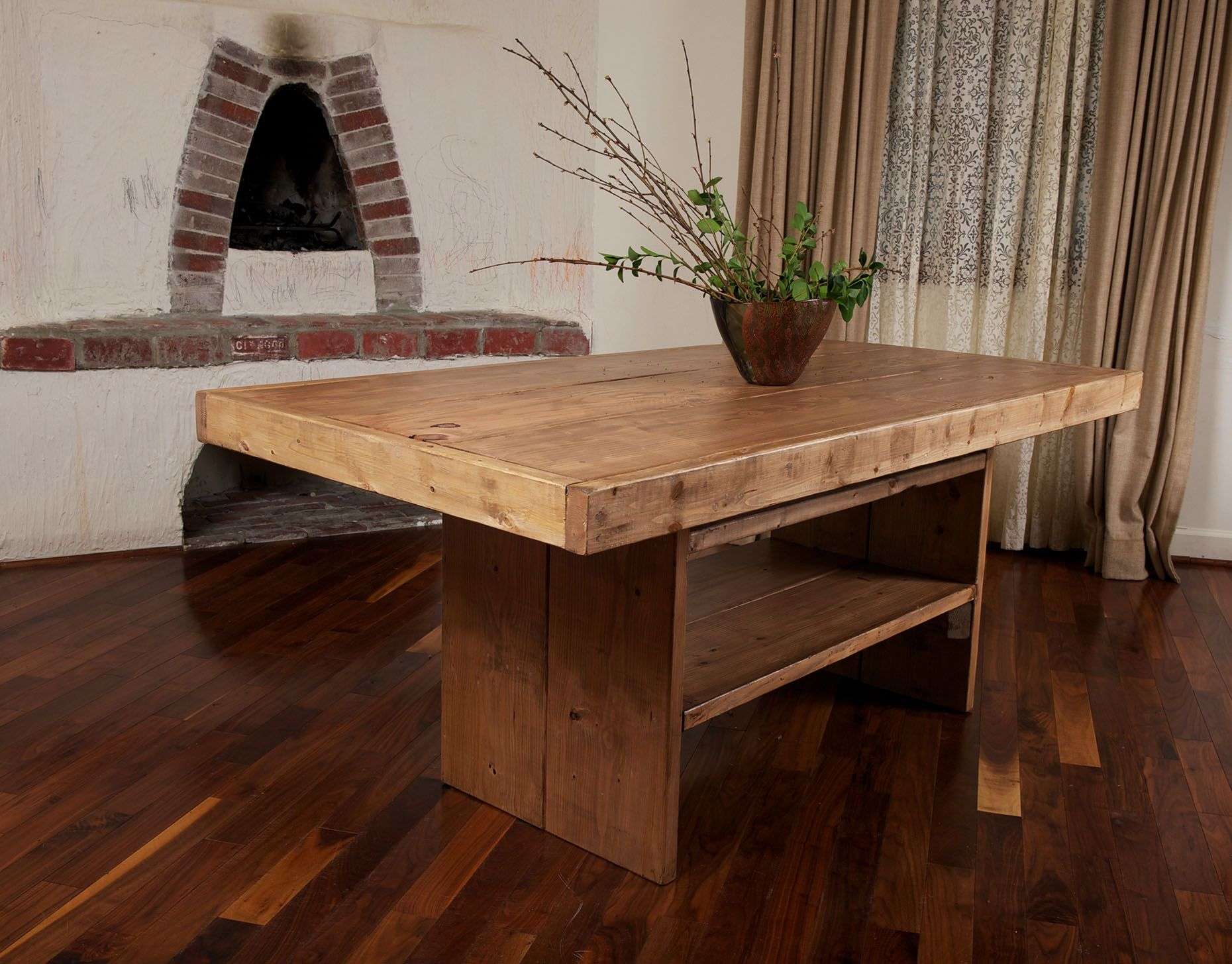 "Table with a shelf below 38"" x 6 feet Farm table with"