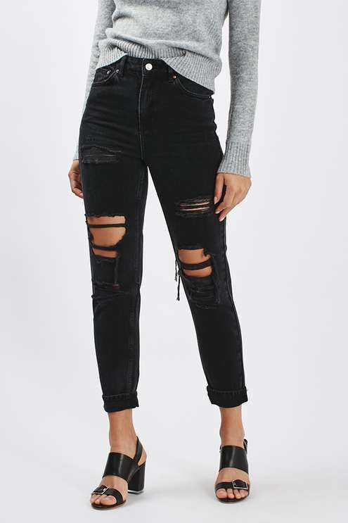 3dda07f4335e MOTO Washed Black Super Rip Mom Jeans - Jeans - Clothing   style ...