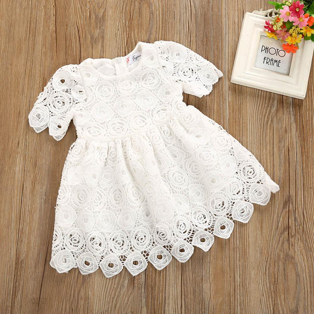 Toddler Infant Baby Floral Lace Short Sleeve Princess Formal Dress Outfits