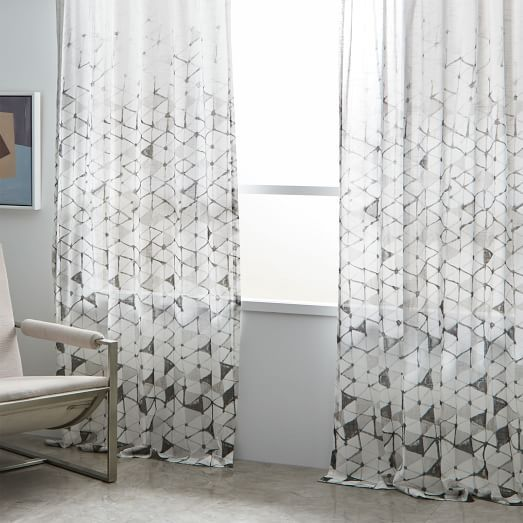 Sheer Cotton Fading Soft Triangles Curtains Set Of 2