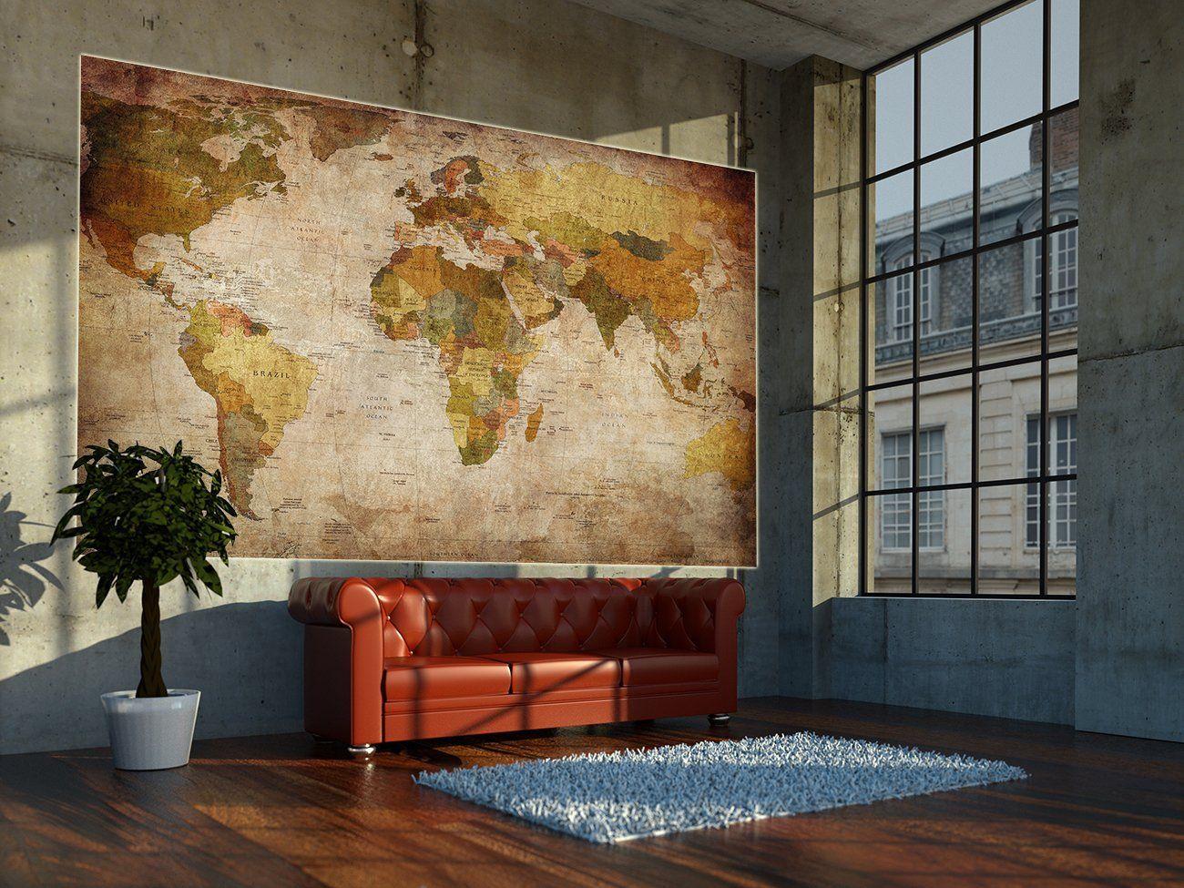 world map photo wallpaper vintage retro. Black Bedroom Furniture Sets. Home Design Ideas