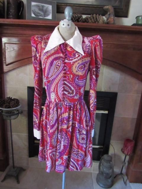 CRAZY CUTE Vtg 1970s YOUNG EDWARDIAN Mini-Dress or Tunic PAISLEY Cranberry Sz S #YoungEdwardian #Tunic