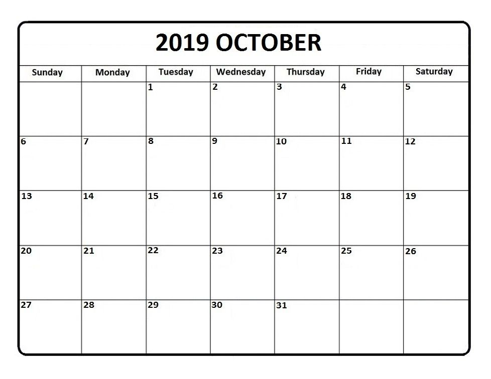 Blank October 2019 Printable Calendar Templates Printable