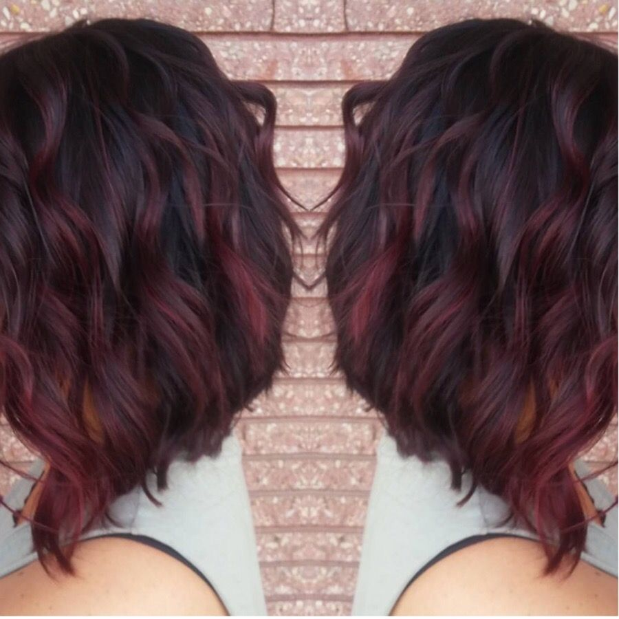 my new red violet ombr233 and cut hair pinterest