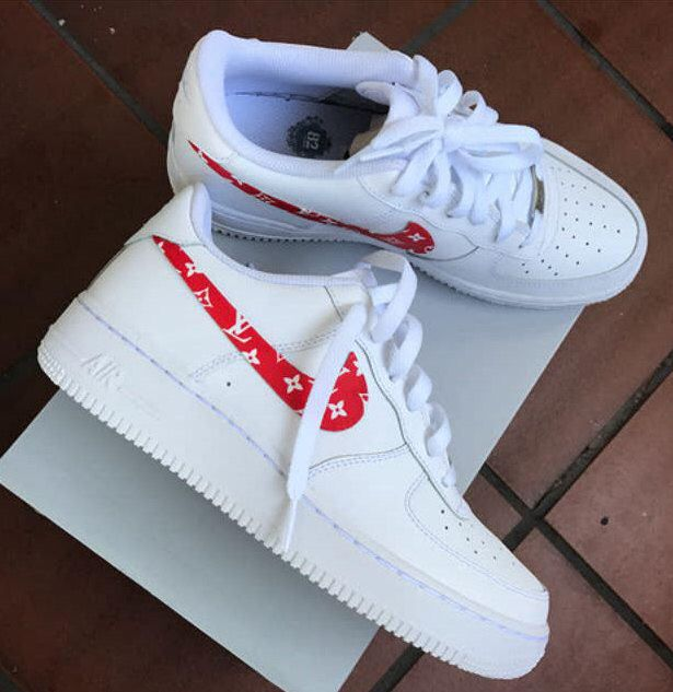 9b8aeca89871 Custom Nike Air Force 1 - Supreme x LV by DezineDope on Etsy https