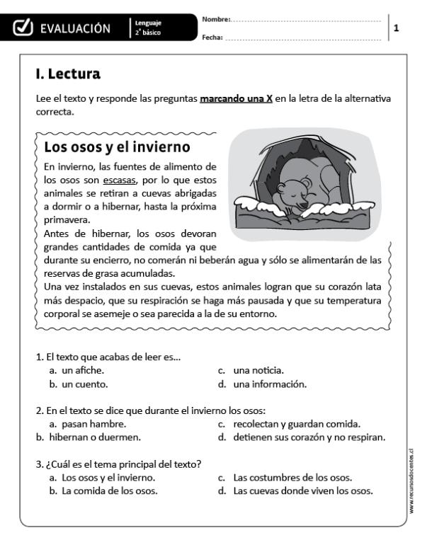 Evaluación Lenguaje 2 Básico Lectura De Comprensión