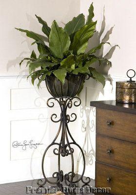 Toscano en maceta verde follaje scroll hierro planta pedestal soporte acabado bronce hierro - Pedestal para plantas ...