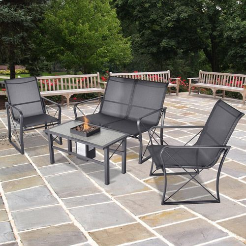 Onyx Sling 4 Piece Patio Conversation Set With Fire Pit Table, Seats 4: