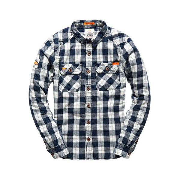 a4f0590bc4 Superdry Rookie Flannel Quilted Shirt (€40) ❤ liked on Polyvore featuring men s  fashion