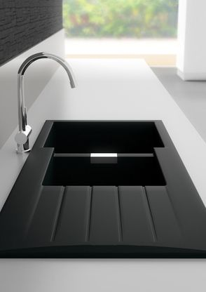 abey schock cristadur 1 34 bowl nanogranite black sink d200b - Abey Kitchen Sinks