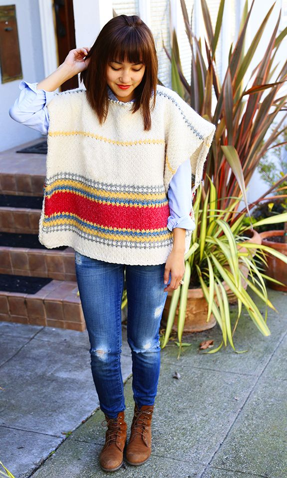 DIY Wool Poncho from a Blanket - Say Yes