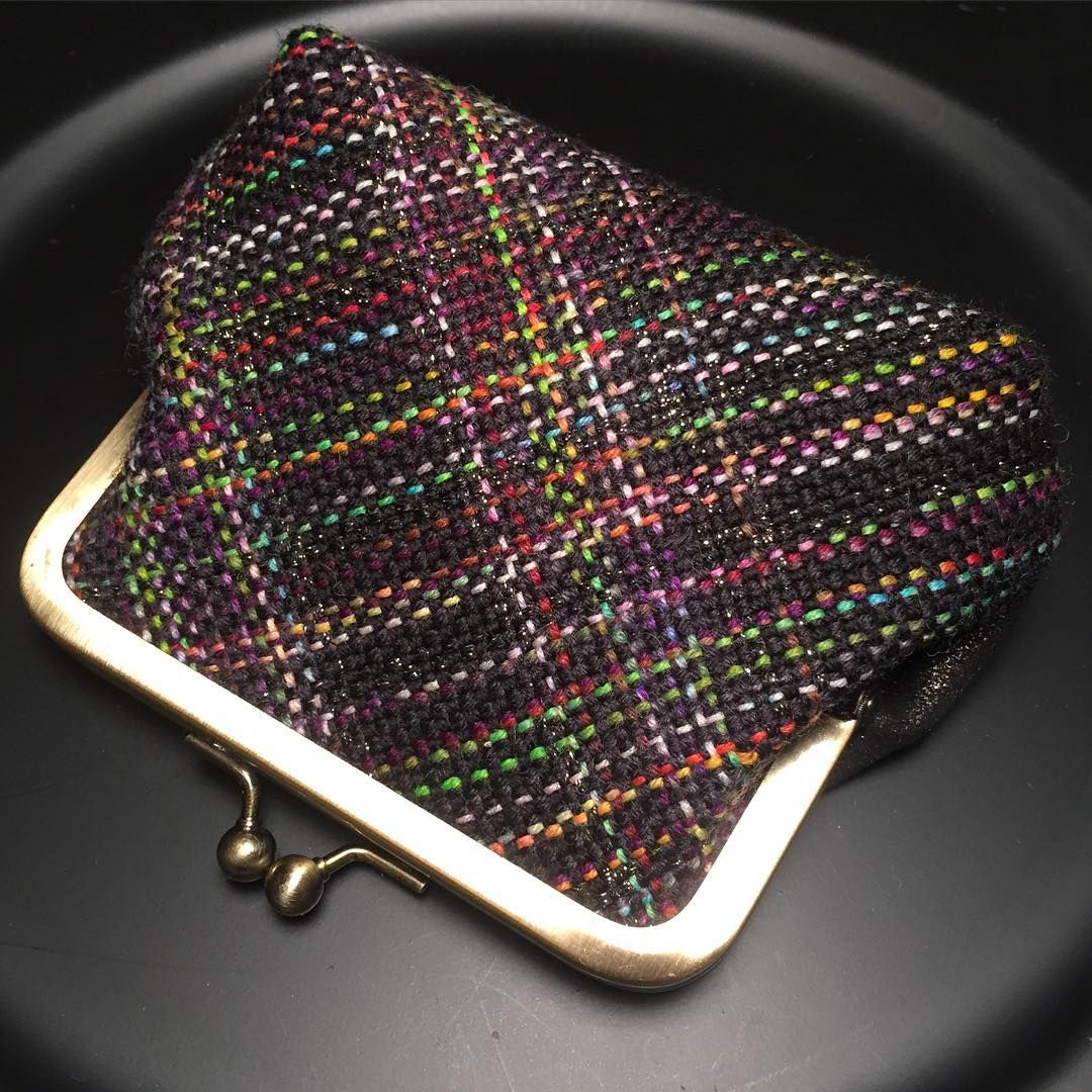 """I might be biased but I really love this """"Mischevious Plaid"""" clutch. #fabricpuns It was inspired by #fibreshare and my swap partner #countessablaze using her hand dyed yarn and a bit of my sparkly silk.  I've been weaving mischievously over the past few months and will announce a shop update very soon! #marybuttons #etsy #etsyshop #plaid #yarn #handdyed #handmade #handwoven #morethanahobby"""