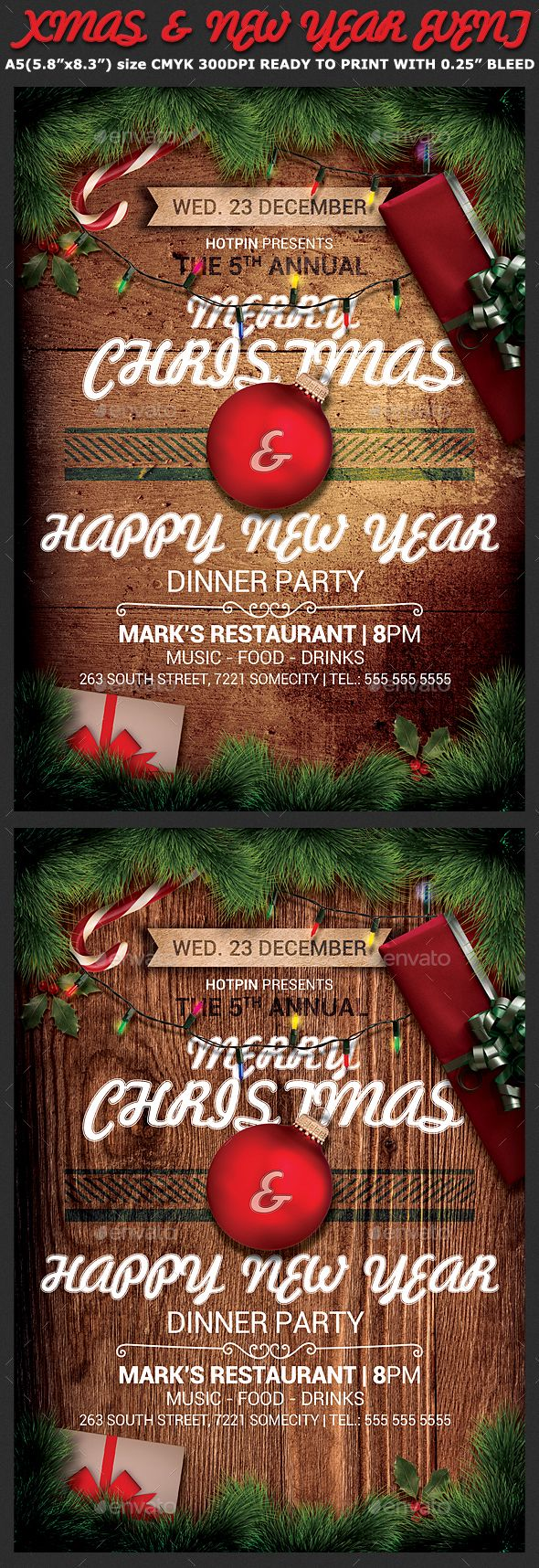 Christmas Event Flyer Template Typography Flyer Template By