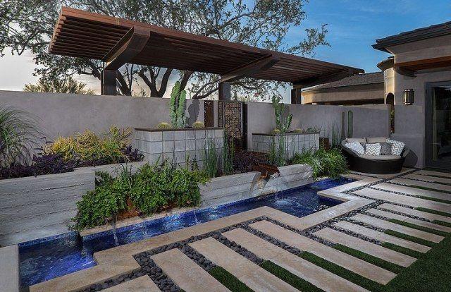 minimalistische garten-architektur beton boden bachlauf-lounge, Gartenarbeit ideen