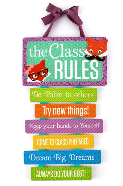 Classroom Rules Decor ~ Foxtrot collection class rules sign wall table décor