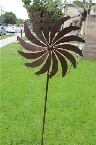 Metal Windmill Wind Farm Spinner Yard Stake Garden Art Ebay Sculptures