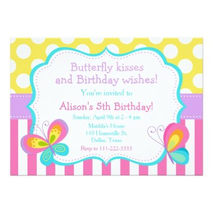 Butterfly Kisses and Birthday Wishes Party Invitation