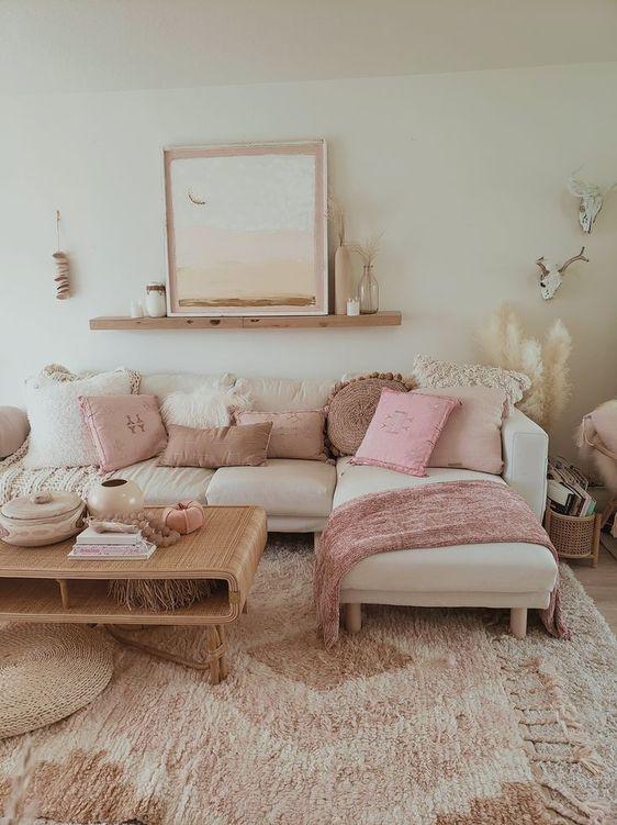Genius Ways To Decorate Your Living Room In 2020 Pink Room Decor Boho Living Room Girly Living Room #ways #to #decorate #your #living #room