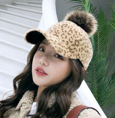 Leopard baseball cap for women plush baseball hats with ball on top ... 9009b2dd3bd
