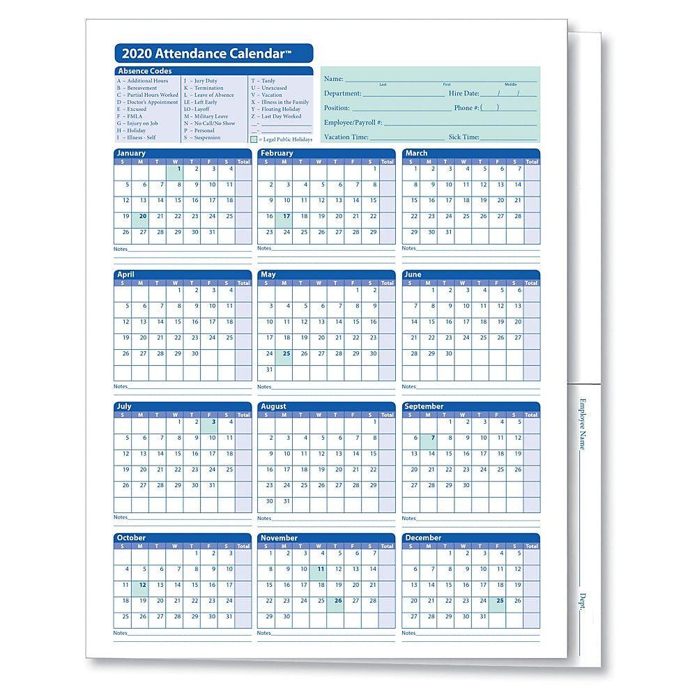 Complyright 2020 Attendance Calendar Folders 9 3 8 X 11 3 4