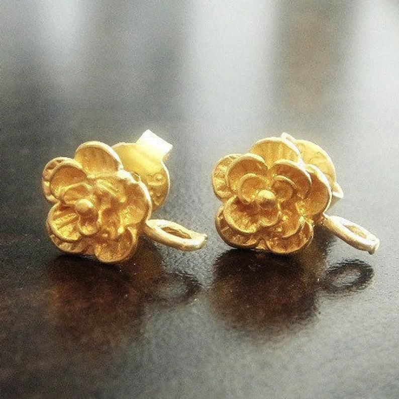 Rose Gold Vermeil 925 Sterling Silver Ball Earring Stud Posts Findings 4mm